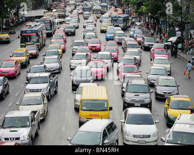 road street traffic jam gridlock congestion in Bangkok thailand asia - Stock Photo