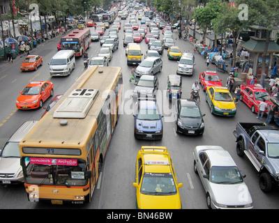 road street traffic jam gridlock congestion in Bangkok thailand asia - Stock Photo