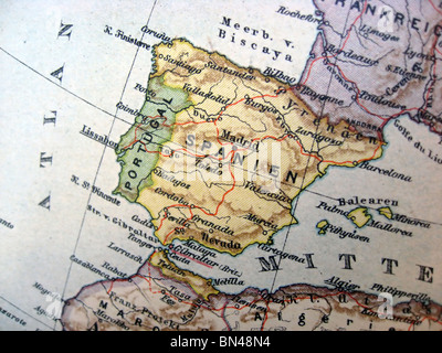 Ancient map of Spain. Handmade in 1881 - Stock Photo