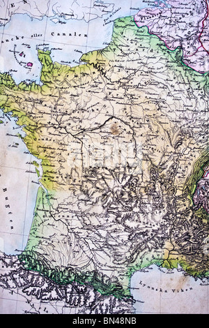 Map of France. France map. Handmade in 1828 - Stock Photo