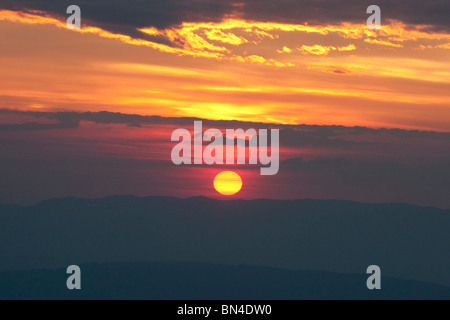 Sunset over the Alps, France - Stock Photo