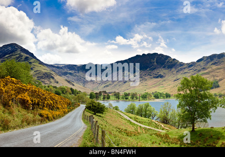 View of Buttermere with Fleetwith Pike, Grey Knotts and Haystacks, Lake District, UK - Stock Photo