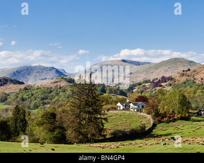 Rural farmhouse north east of Coniston surrounded by mountains in the summer in the Lake District, UK - Stock Photo