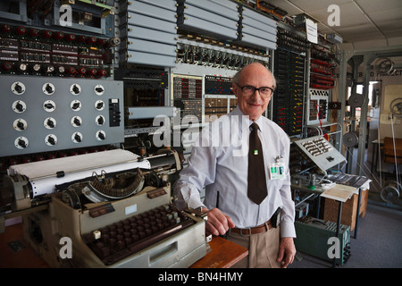 Tony Sale who led the team which built this replica of the Colossus computer at Bletchley Park. - Stock Photo