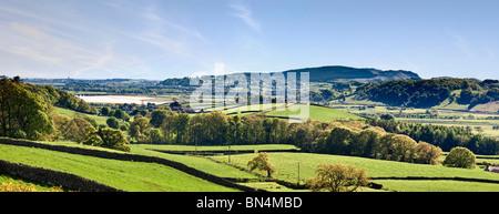 Farmland overlooking Duddon Valley towards Duddon Bridge, The Lake District, Cumbria, England, UK