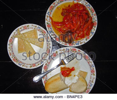 Selection of tapas (red pepper, Manchego cheese), Santa Cruz district, Seville, Seville Province, Andalucia, Spain, - Stock Photo