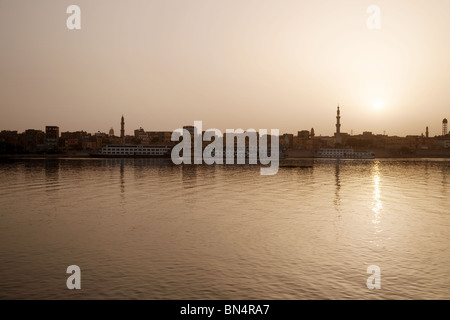 Sunset over the River Nile at Edfu, Upper Egypt, Africa - Stock Photo