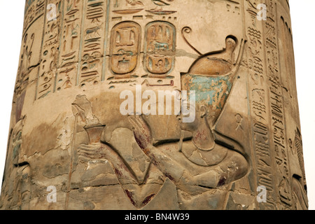 Detail of carving of the Pharaoh on a column, The temple of Horus and Sobek, Kom Ombo, Upper Egypt - Stock Photo