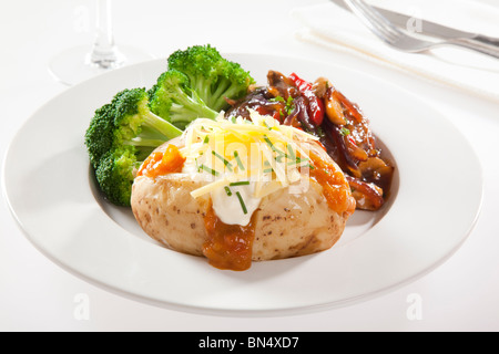 Baked Potato with steak and broccoli - Stock Photo
