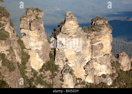 The Three Sisters in the Blue Mountains outside of Sydney, Australia - Stock Photo