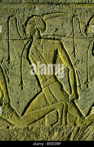 as Relief detail from the temple of Abu Simbel in Egypt - Stock Photo