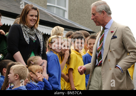 The Prince of Wales visiting the Welsh Woollen Museum, Drefach Felindre, Carmarthenshire, June 28 2010, - Stock Photo