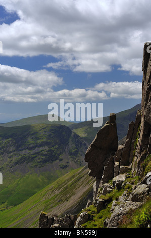 The Sphinx Rock Great Gable in the Lake District - Stock Photo