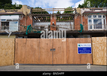 Derelict Edwardian building being demolished on the seafront at Penarth Vale of Glamorgan South Wales UK - Stock Photo