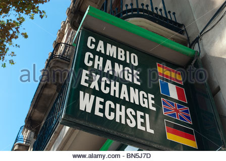 Money exchange sign, Palma de Mallorca, Baleares, Spain - Stock Photo
