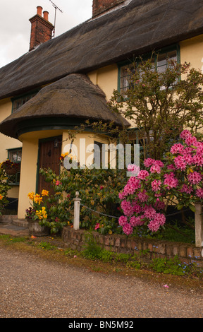 A pretty thatched cottage at Peasenhall in Suffolk , England , Great Britain , Uk - Stock Photo