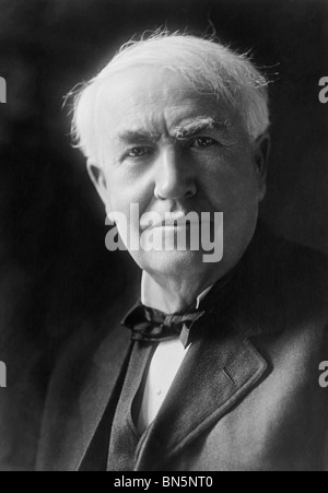 American inventor + scientist Thomas Edison (1847 - 1931) - creator of the world's first practical, long-lasting - Stock Photo