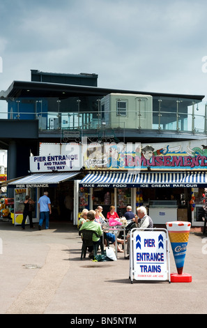 Holidaymakers on the seafront at Southend on Sea in Essex - Stock Photo