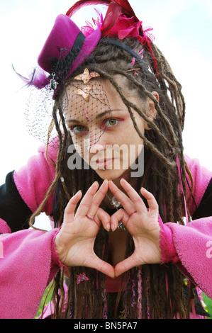 pink fairy in Glastonbury United Kingdom - Stock Photo