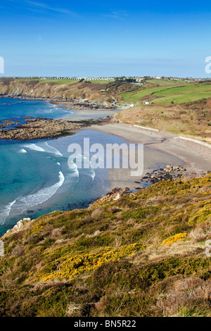Kennack Sands taken from Eastern Cliff; looking west; Cornwall - Stock Photo