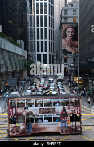 Crossing Pedder Street with Des Voeux Road in Central Hong Kong. - Stock Photo