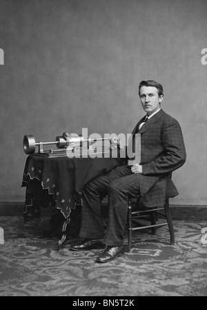 Portrait photo c1877 of American inventor, scientist and businessman Thomas Edison (1847 - 1931) and his cylinder - Stock Photo