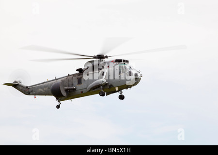 Royal Navy Westland Sea King helicopter at RAF Waddington International Airshow - arrivals 02 July 2010 - Stock Photo