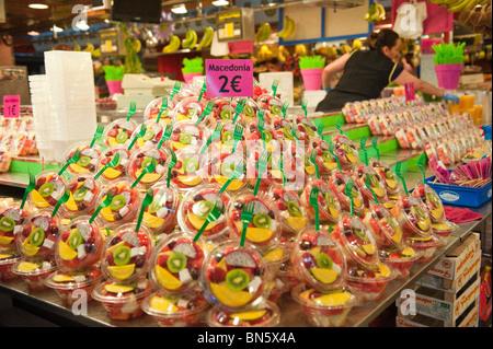 Fresh Fruit Shop at the Market of La Boqueria in Las Ramblas of Barcelona, Spain. - Stock Photo