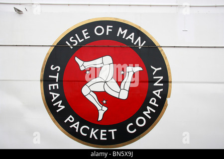 Isle of Man Steam Packet Company logo on side of ship - Stock Photo