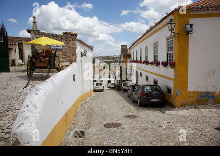Typical Medieval Cobblestone Street of a Small Village in Old World Europe - Stock Photo