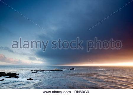 Monterey Bay Sunset, Point Lobos State Reserve, California - Stock Photo