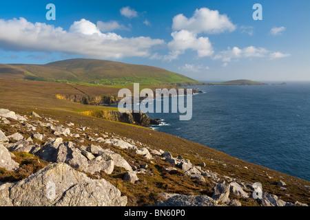 Elevated view over dramatic coastal landscape, Dingle Peninsula, County Kerry, Munster, Ireland - Stock Photo
