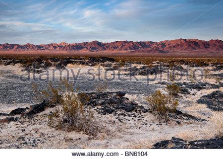 Lava Field in Mojave Desert, Amboy Crater National Natural Landmark, California - Stock Photo