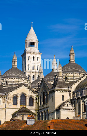 The ornate exterior of St. Front Cathedral, Periguex, Dordogne - Stock Photo