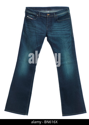 Diesel jeans Zathan. Men boot cut washed denim pants isolated on white background. - Stock Photo