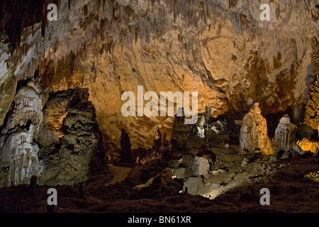 Underground formations in the superlative Škocjan Jame caves in Slovenia. - Stock Photo