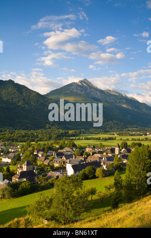 Morning light illuminates the charming Village d'Aucun, Hautes- Pyrenees, France - Stock Photo