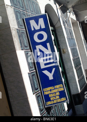 Sign for a money exchange or bureau de change or casa de cambio in Uyuni in Bolivia - Stock Photo