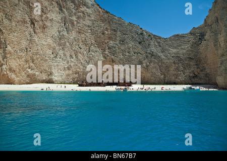 Shipwreck beach in Zakynthos Island, Greece - Stock Photo