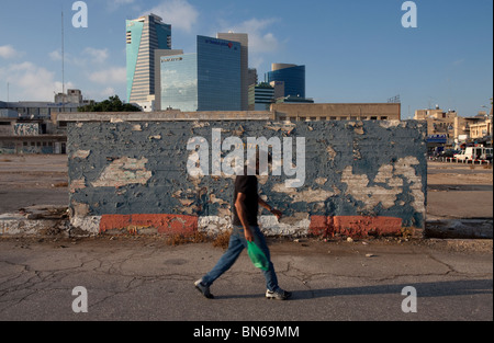 New office buildings are seen from the old central bus station in southern Tel Aviv Israel - Stock Photo
