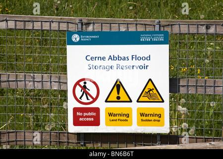 Cerne Abbas Flood Storage Reservoir notice on fence - Stock Photo