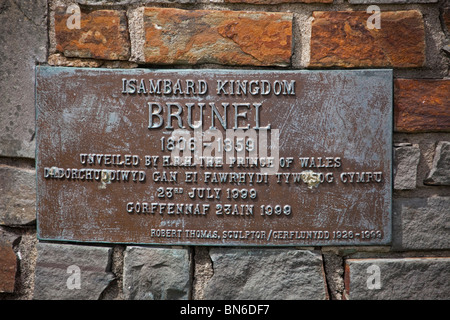 Commemorative plaque of Isambard Kingdom Brunel, on statue at Neyland, Pembrokeshire Wales 107624_Brunel - Stock Photo