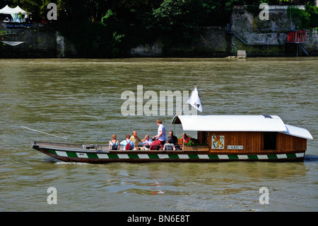 Cable ferry across the river Rhine in Basel (Basle, Bale, Basilea) Switzerland - Stock Photo