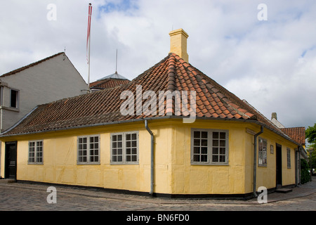 Hans Christian Andersens Childhood Home in Munkemoellestraede in Odense - Stock Photo