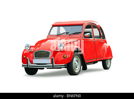 French red Citroen 2 cv parked in a street - Stock Photo
