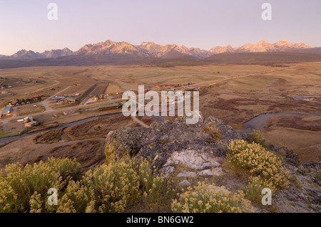 Dawn over Stanley and the Sawtooth Mountains, Rocky Mountains, Idaho, USA - Stock Photo