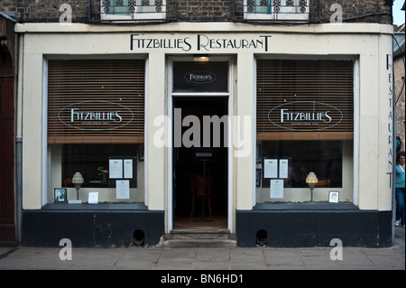 Front view of the famous Fitzbillies shop and restaurant, Trumpington Street Cambridge UK - Stock Photo
