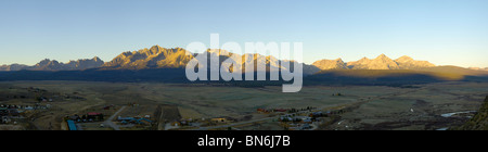 Dawn over Stanley and the Sawtooth Mountains, Idaho, USA - Stock Photo