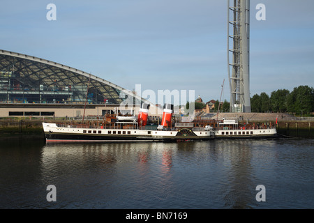 The Waverley Paddle Steamer berthed beside the Science Centre on the River Clyde in Glasgow Scotland UK - Stock Photo