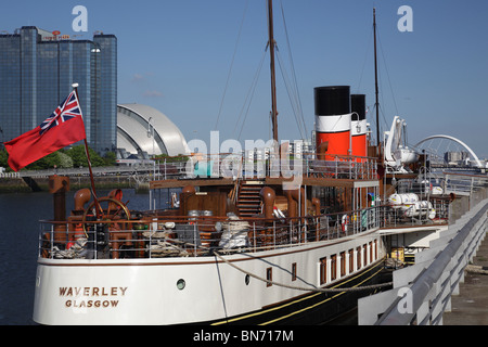 The Waverley Paddle Steamer berthed on the River Clyde in Glasgow Scotland UK - Stock Photo